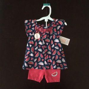 Baby girls watermelon shorts set